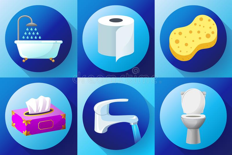 Το λουτρό χρωμάτισε οριζόντια το καθορισμένο διάνυσμα εικονιδίων - τουαλέτα, κρουνός, πετσέτες, χαρτί τουαλέτας, πετσέτες, ντους, απεικόνιση αποθεμάτων