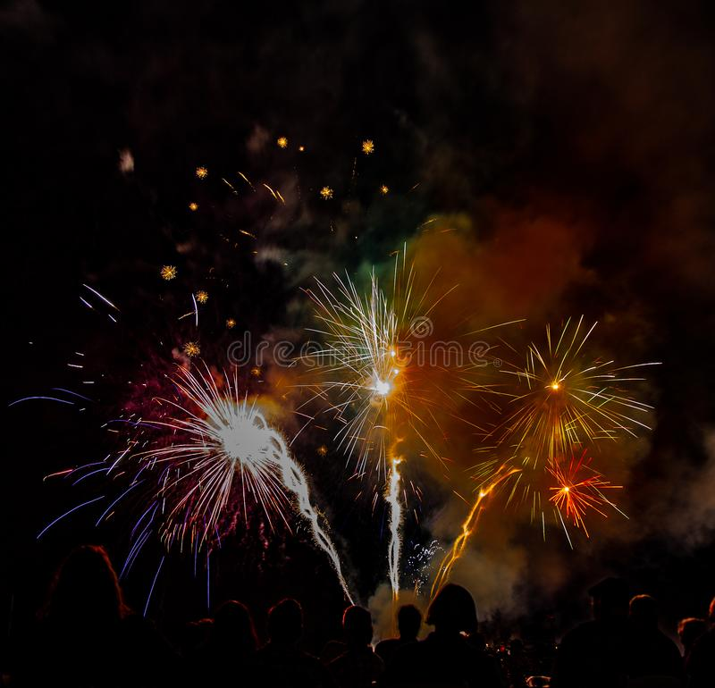 Το λυκόφως Airshow Abbotsford παρουσιάζει στα πυροτεχνήματα μεγάλο φινάλε στοκ εικόνες