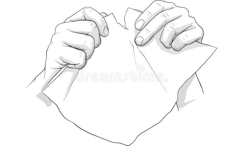Το λυσσασμένο έγγραφο εγγράφου χεριών, αποτυγχάνει, μπερδεύει, trow έγγραφο στο gabage διανυσματική απεικόνιση