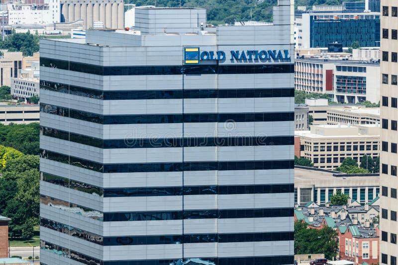 Το Μάιο του 2018 της Ινδιανάπολης - Circa: Στο κέντρο της πόλης παλαιά οικοδόμηση της National Bank Η παλαιά National Bank είναι  στοκ εικόνα