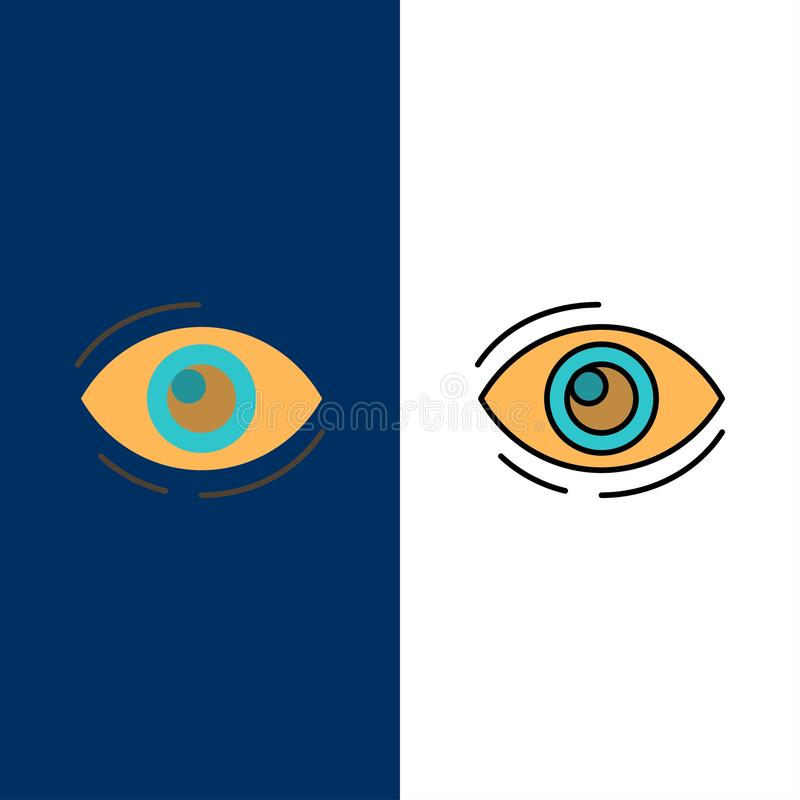 Το μάτι, βρίσκει, κοιτάζει, κοίταγμα, αναζήτηση, βλέπει, βλέπει τα εικονίδια Επίπεδος και γραμμή γέμισε το καθορισμένο διανυσματι διανυσματική απεικόνιση