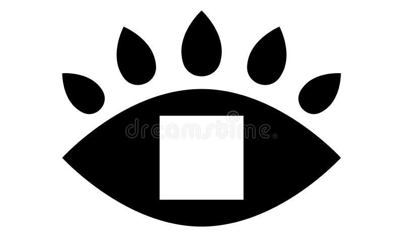 Το μάτι πλαισίων κοιτάζει στο κενό τετραγωνικό, μαύρο εικονίδιο Πρότυπο οράματος ματιών Πρότυπο Διανυσματική απεικόνιση για το σχ διανυσματική απεικόνιση