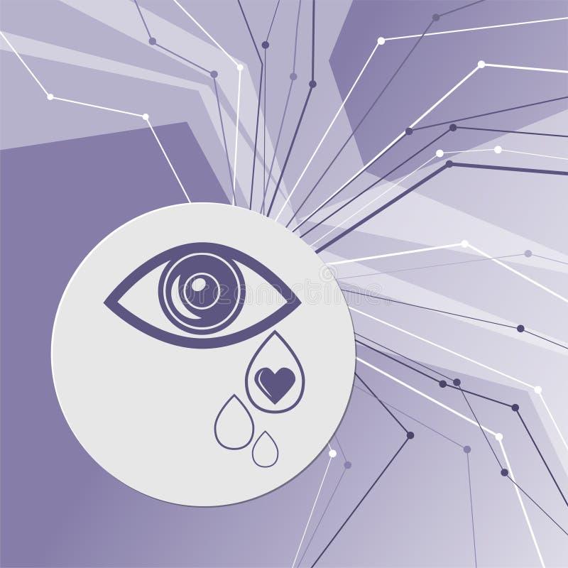 Το μάτι σχίζει το εικονίδιο στο πορφυρό αφηρημένο σύγχρονο υπόβαθρο Οι γραμμές προς όλες τις κατευθύνσεις Με το δωμάτιο για τη δι ελεύθερη απεικόνιση δικαιώματος