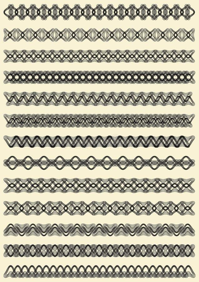 Το μέγα σύνολο λεπτών filigree σχεδίων συνόρων, γεωμετρική μαύρη διακόσμηση monoline, διαμόρφωσε τη συλλογή λουρίδων διανυσματική απεικόνιση