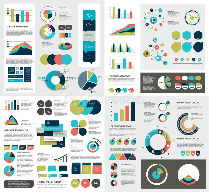 Το μέγα σύνολο διαγραμμάτων στοιχείων infographics, γραφικές παραστάσεις, διαγράμματα κύκλων, διαγράμματα, ομιλία βράζει Επίπεδο  απεικόνιση αποθεμάτων