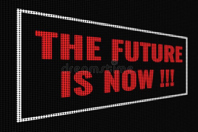 Το μέλλον είναι τώρα κόκκινο κείμενο στη σκοτεινή οθόνη απεικόνιση αποθεμάτων
