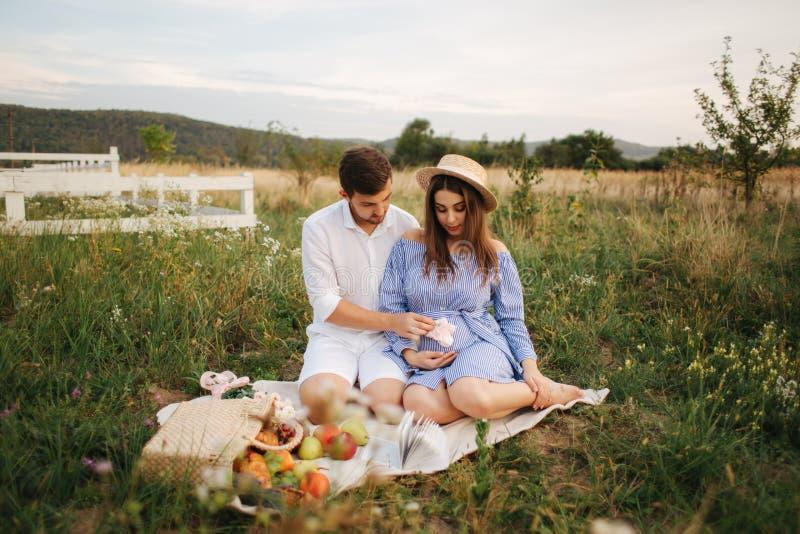 Το μέλλον mom και ο μπαμπάς κάθονται στον τομέα Η έγκυος γυναίκα με το σύζυγό της έβαλε τα χέρια τους στην κοιλιά στοκ φωτογραφίες