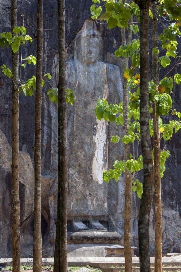 Το 15 μέτρο υψηλό άγαλμα του Βούδα προκύπτει από τη δασώδη περιοχή σε Buduruwagala, κοντά σε Wellawaya στην κεντρική Σρι Λάνκα στοκ εικόνες