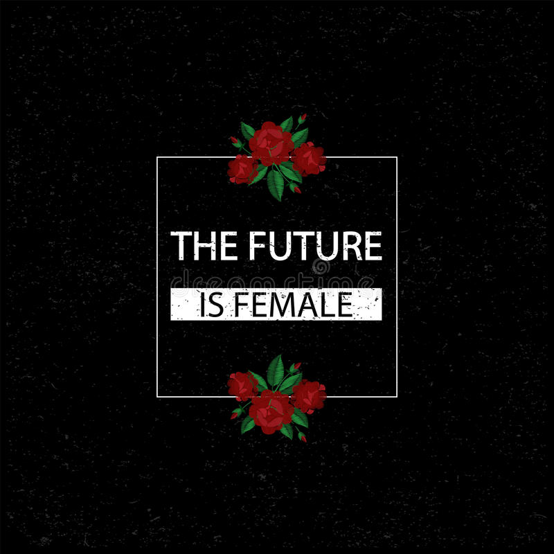 Το μέλλον είναι θηλυκό επίσης corel σύρετε το διάνυσμα απεικόνισης Μπάλωμα κεντητικής μόδας με τα τριαντάφυλλα Καθιερώνον τη μόδα ελεύθερη απεικόνιση δικαιώματος