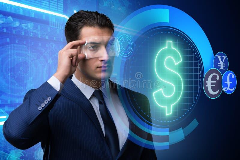 Το μέλλον του νομίσματος που κάνει εμπόριο με τον επιχειρηματία στοκ φωτογραφία με δικαίωμα ελεύθερης χρήσης