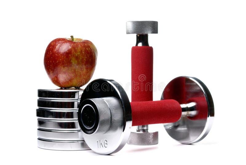 το μήλο barbells απομόνωσε το λ&epsilo στοκ εικόνα με δικαίωμα ελεύθερης χρήσης