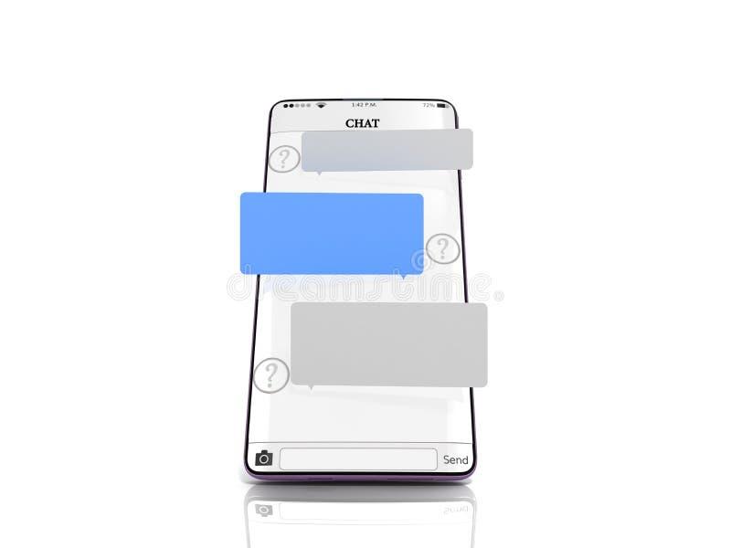 Το μήνυμα συνομιλίας στο παράθυρο συνομιλίας smartphone στους κενούς τομείς μηνυμάτων smartphone κρεμά επάνω από την οθόνη τρισδι διανυσματική απεικόνιση