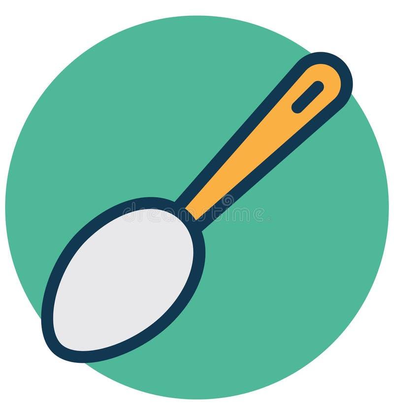 Το μαγειρεύοντας κουτάλι, flatware απομόνωσε το διανυσματικό εικονίδιο που μπορεί εύκολα να τροποποιήσει ή να εκδώσει διανυσματική απεικόνιση