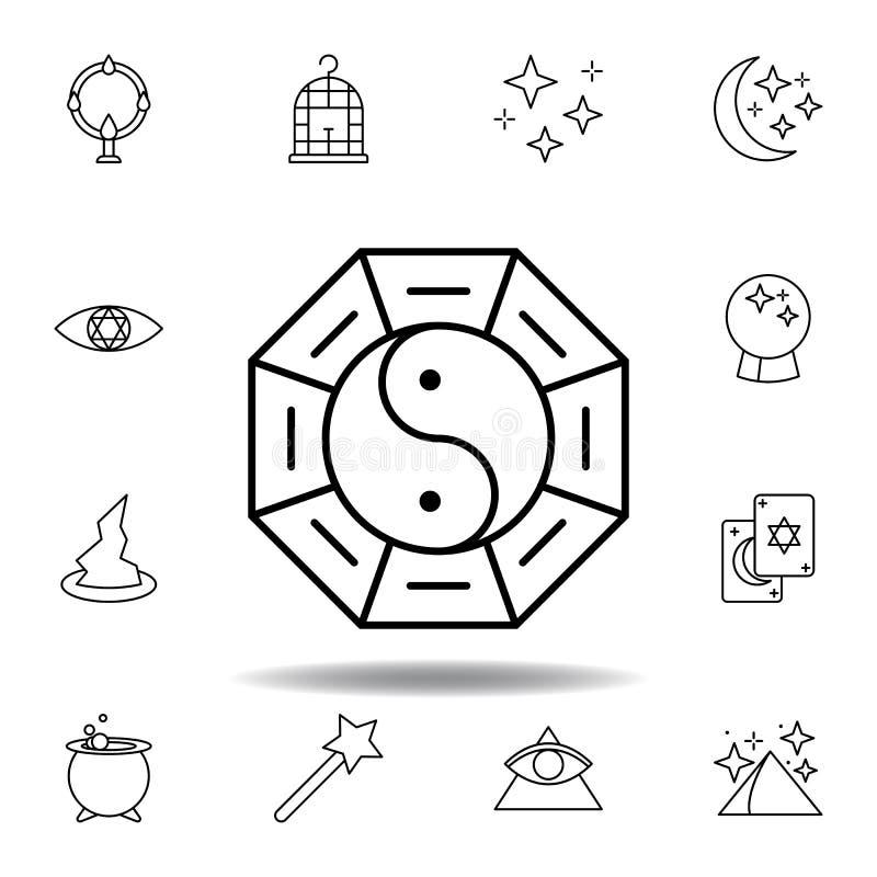 το μαγικό σημάδι yin yang περιγράφει το εικονίδιο στοιχεία του μαγικού εικονιδίου γραμμών απεικόνισης τα σημάδια, σύμβολα μπορούν διανυσματική απεικόνιση