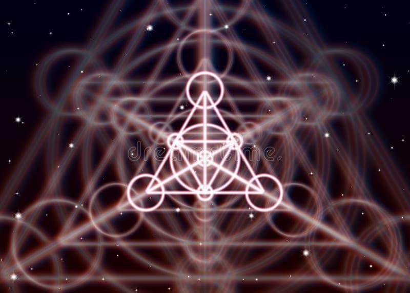 Το μαγικό σύμβολο τριγώνων διαδίδει τη λαμπρή απόκρυφη ενέργεια στο πνευματικό διάστημα ελεύθερη απεικόνιση δικαιώματος