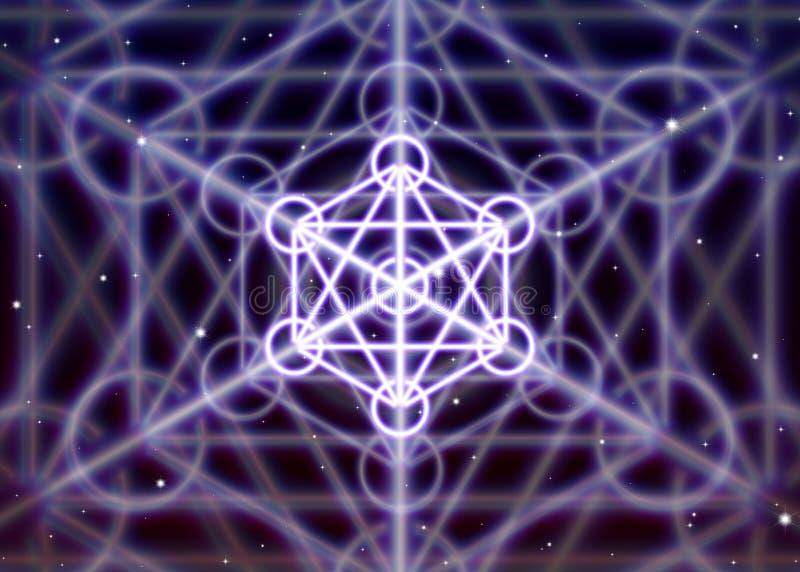 Το μαγικό hexagon σύμβολο με τους κύκλους διαδίδει τη λαμπρή απόκρυφη ενέργεια στο πνευματικό διάστημα απεικόνιση αποθεμάτων