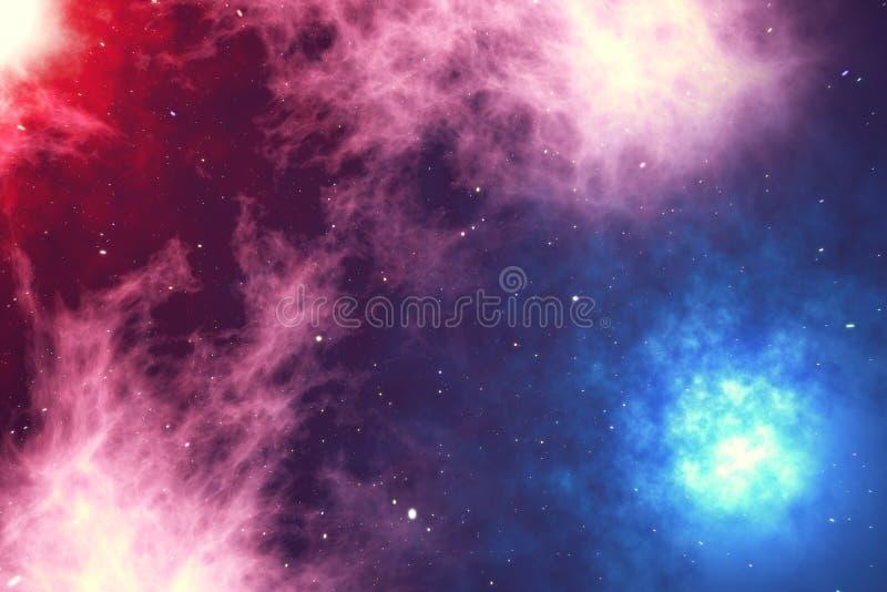Το μακρινό διάστημα γεμίζουν με τον άπειρο αριθμό αστεριών, γαλαξίες, νεφελώματα Όμορφη ζωηρόχρωμη ανασκόπηση τρισδιάστατη απόδοσ διανυσματική απεικόνιση