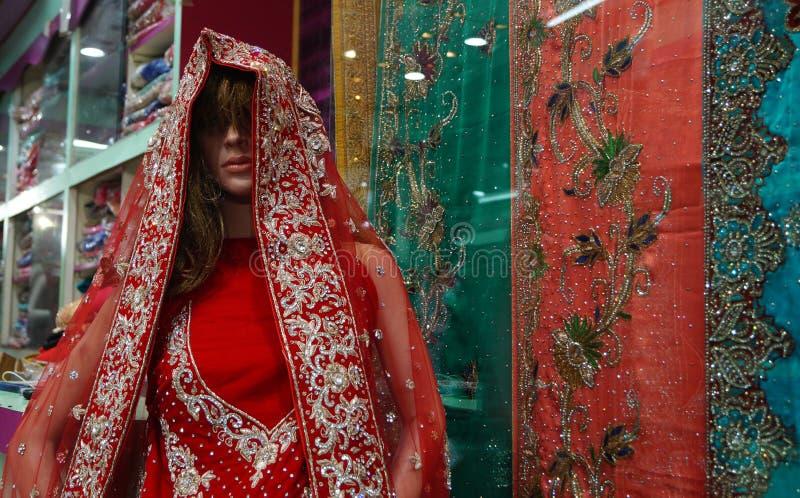 Το μανεκέν έντυσε στο ινδικά φόρεμα ή τα saris που κρατήθηκε μπροστά από το λιανικό κατάστημα ή τα καταστήματα στοκ εικόνες