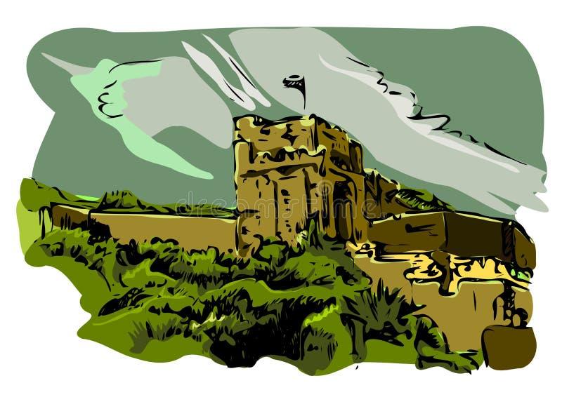 Το μαυριτανικό Castle στο βράχο του Γιβραλτάρ απεικόνιση αποθεμάτων