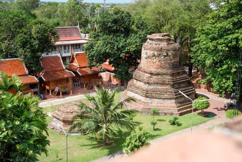Το μαυσωλείο ιστορικό παραμένει στο Si Ayutthaya Phra Nakhon, στο chaimongkol Ταϊλάνδη yai, ένα από το διάσημο ιστορικό ορόσημο σ στοκ εικόνες