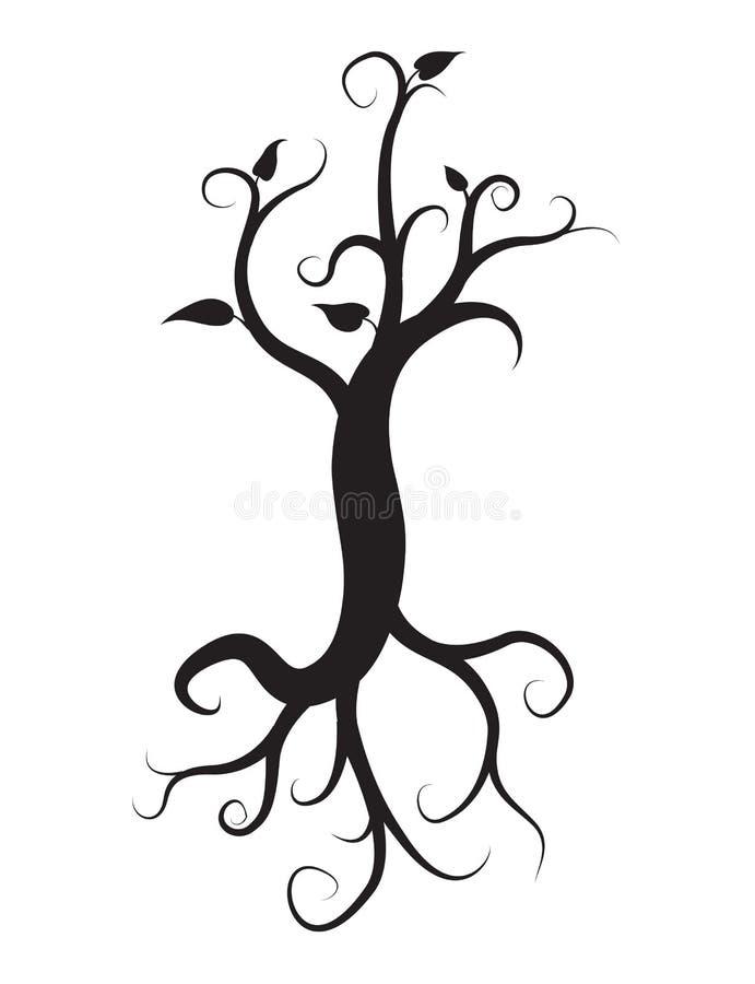 Το μαύρο δέντρο με τις ρίζες απομόνωσε το άσπρο υπόβαθρο ελεύθερη απεικόνιση δικαιώματος