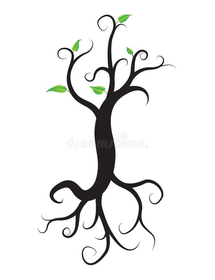 Το μαύρο δέντρο με τις ρίζες απομόνωσε το άσπρο υπόβαθρο διανυσματική απεικόνιση