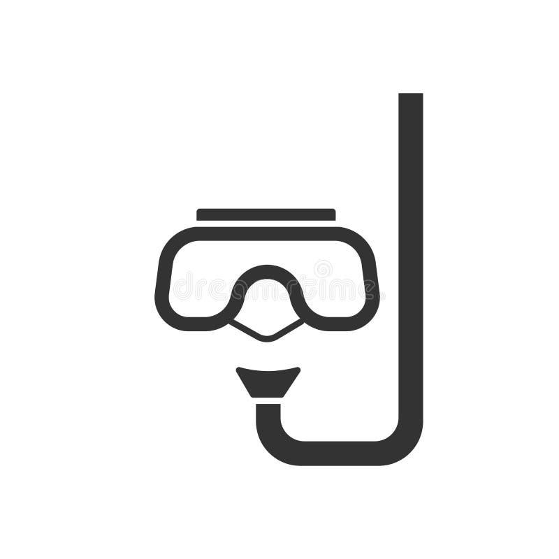 Το μαύρο απομονωμένο εικονίδιο κολυμπά με αναπνευτήρα και μάσκα για την κατάδυση στο άσπρο υπόβαθρο Το εικονίδιο της μάσκας και κ διανυσματική απεικόνιση