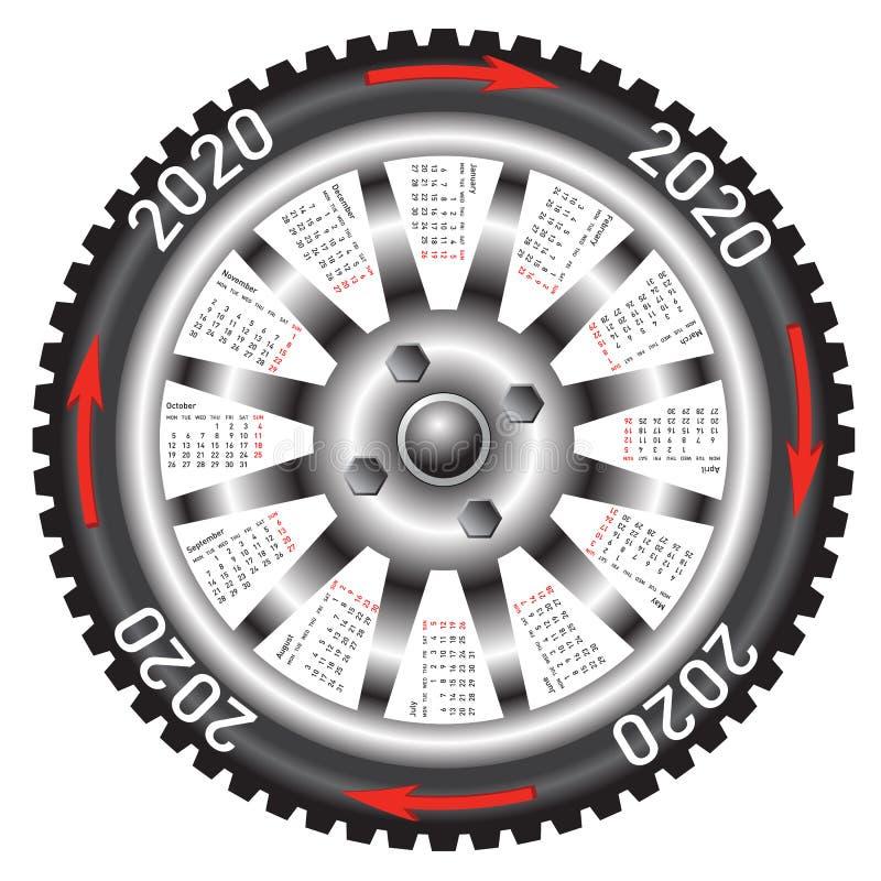 Το μαύρο αυτοκίνητο ροδών ημερολογιακού 2020 έτους ελεύθερη απεικόνιση δικαιώματος