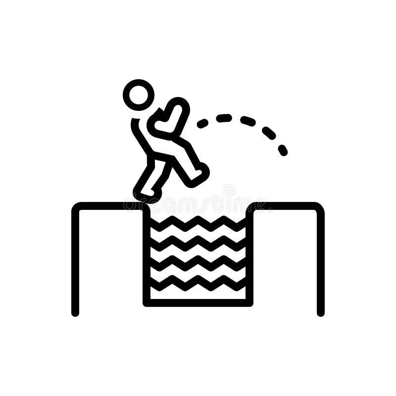 Το μαύρο εικονίδιο γραμμών για την πρόκληση, τολμά και outdare διανυσματική απεικόνιση