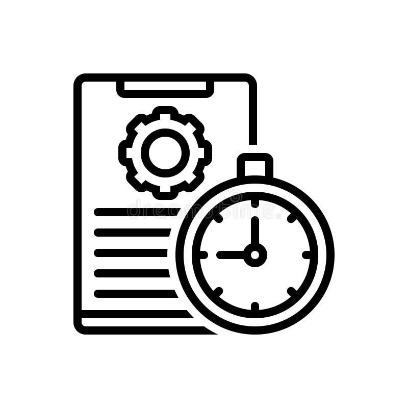 Το μαύρο εικονίδιο γραμμών για τη χρονική διαχείριση, οργανώνει και τεκμηριώνει απεικόνιση αποθεμάτων