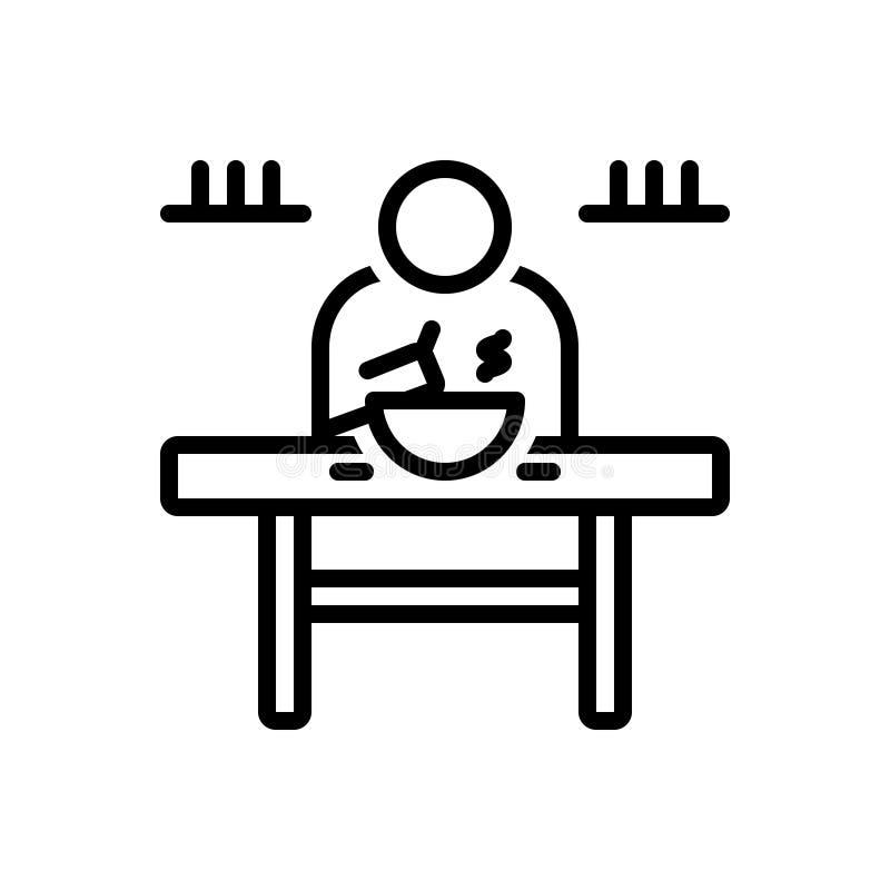 Το μαύρο εικονίδιο γραμμών για τρώει, πίνακας, γεύμα και τρόφιμα διανυσματική απεικόνιση