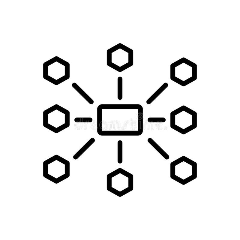 Το μαύρο εικονίδιο γραμμών για Outsource τη διαχείριση, ανακατανέμει και χρησιμοποιεί διανυσματική απεικόνιση