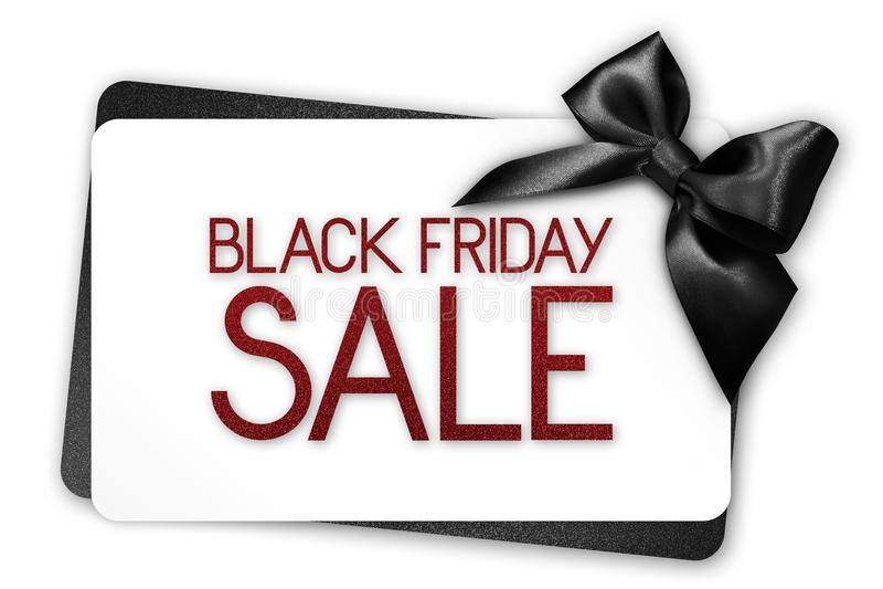 Το μαύρο κείμενο πώλησης Παρασκευής γράφει στην άσπρη κάρτα δώρων με το μαύρο ribbo στοκ εικόνα με δικαίωμα ελεύθερης χρήσης
