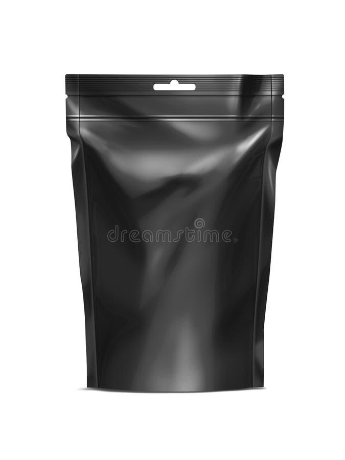 Το μαύρο κενό doy-πακέτο, τα τρόφιμα φύλλων αλουμινίου Doypack ή το ποτό τοποθετούν τη συσκευασία με zip-lock σε σάκκο ελεύθερη απεικόνιση δικαιώματος