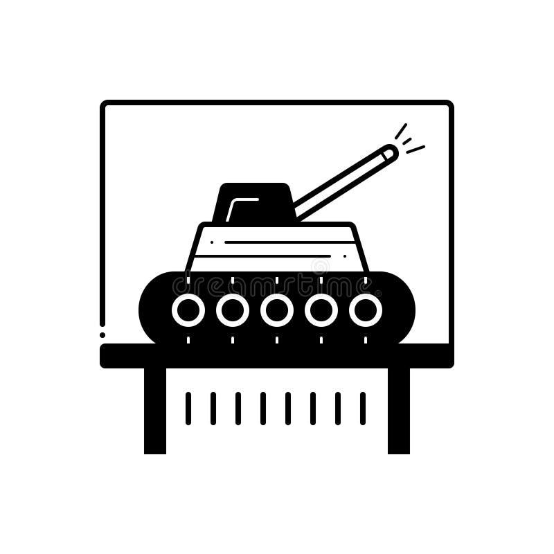 Το μαύρο στερεό εικονίδιο για το έκθεμα δεξαμενών, μαυρίζει kcar και τον πόλεμο διανυσματική απεικόνιση