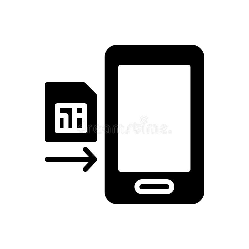 Το μαύρο στερεό εικονίδιο για το ένθετο, στραγγίζει και τηλεφωνά απεικόνιση αποθεμάτων