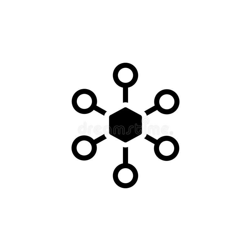 Το μαύρο στερεό εικονίδιο για το δίκτυο, συνδέει και τεχνολογία ελεύθερη απεικόνιση δικαιώματος