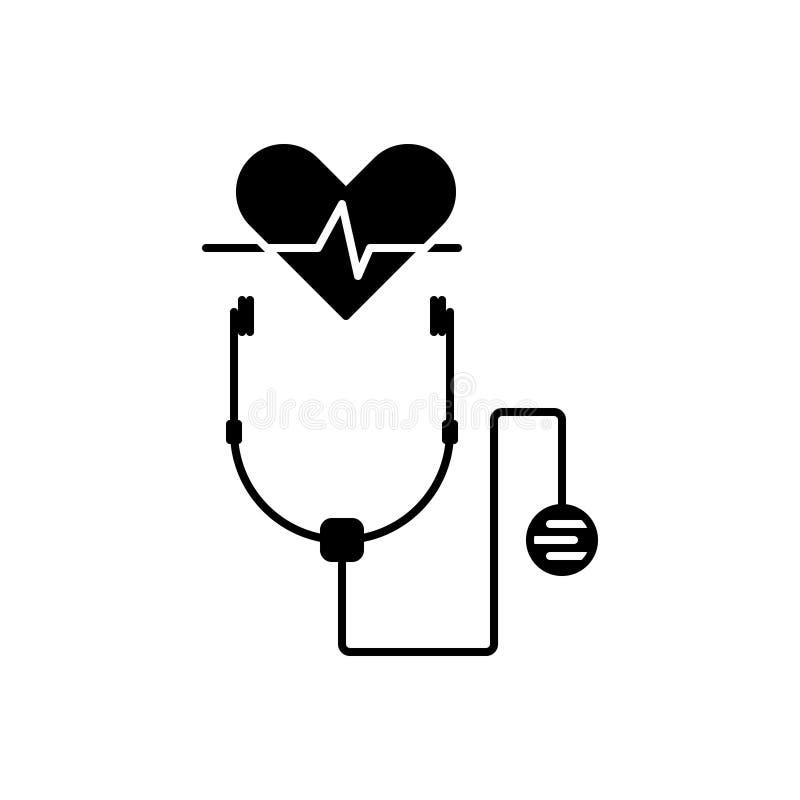 Το μαύρο στερεό εικονίδιο για την υγειονομική περίθαλψη, καλά - όντας και παίρνει την προσοχή ελεύθερη απεικόνιση δικαιώματος