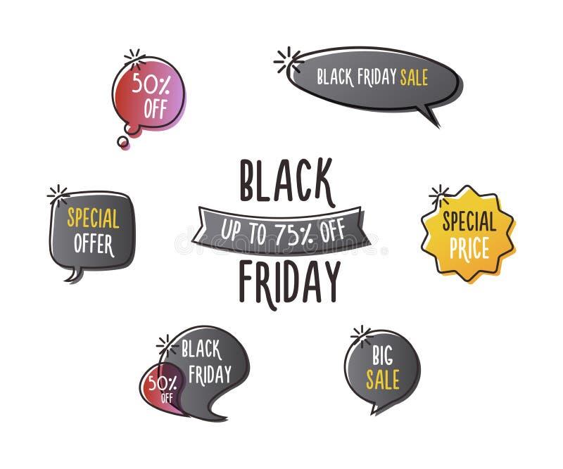 Το μαύρο σύνολο Παρασκευής ετικετών διασκέδασης, κολλά, λεκτικές φυσαλίδες, εμβλήματα, λογότυπα, εικονίδια Συρμένο χέρι doodle δι ελεύθερη απεικόνιση δικαιώματος