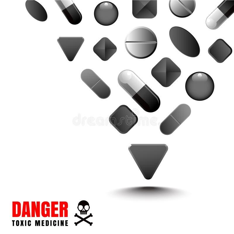 Το μαύρο χρώμα φαρμάκων αντιπροσωπεύει επικίνδυνος και τοξικός διανυσματική απεικόνιση
