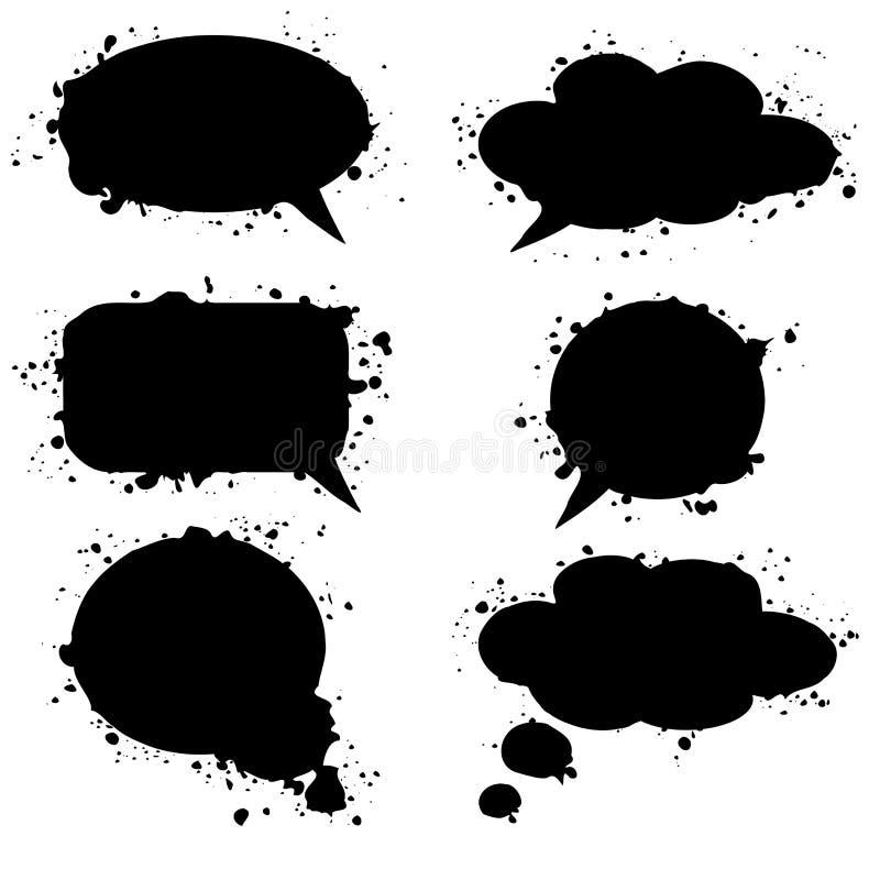 Το μαύρο grunge σκέφτηκε τις φυσαλίδες, σύννεφα, απεικόνιση ελεύθερη απεικόνιση δικαιώματος