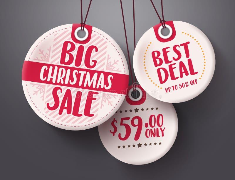 Το μεγάλο διάνυσμα ετικεττών πώλησης Χριστουγέννων έθεσε με την άσπρη και κόκκινη ένωση χρώματος τιμών ετικεττών ελεύθερη απεικόνιση δικαιώματος