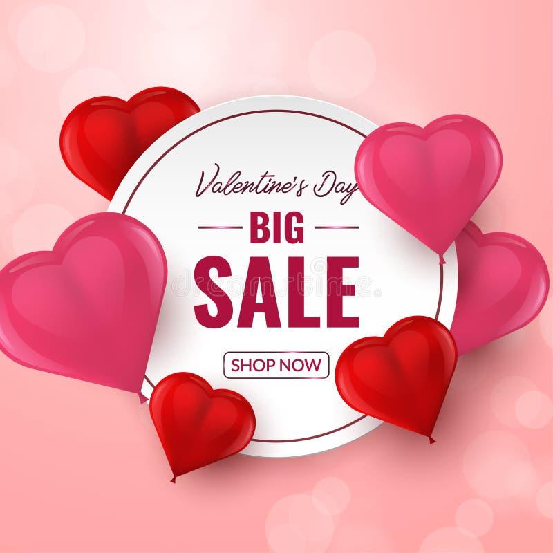 Το μεγάλο υπόβαθρο πώλησης ημέρας βαλεντίνων με την κόκκινη και ρόδινη τρισδιάστατη καρδιά διαμόρφωσε τα μπαλόνια επίσης corel σύ ελεύθερη απεικόνιση δικαιώματος