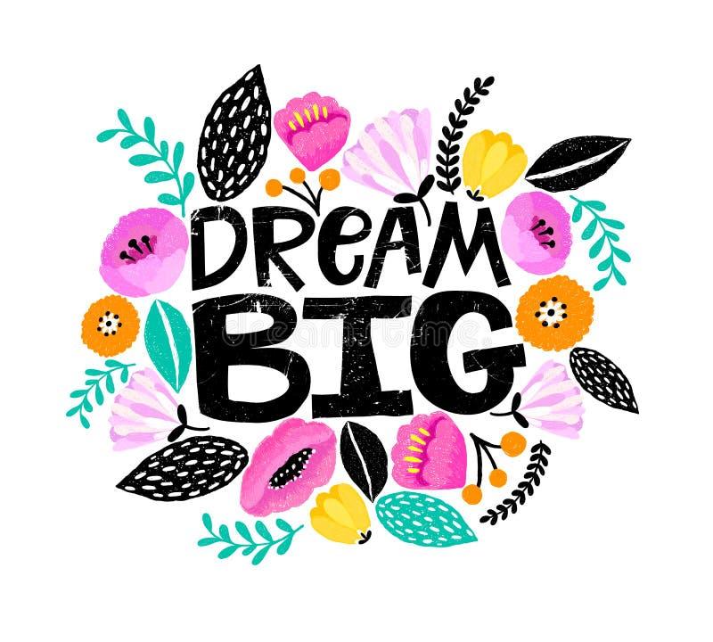 ` Το μεγάλο ` χέρι ονείρου χρωμάτισε την ψηφιακή εγγραφή Χαριτωμένα ζωηρόχρωμα λουλούδια γύρω Τέλεια κάρτα, σχέδιο μπλουζών, σχέδ απεικόνιση αποθεμάτων