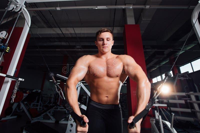 Το μεγάλο ισχυρό bodybuider χωρίς πουκάμισα καταδεικνύει τις ασκήσεις διασταυρώσεων Οι θωρακικοί μυ'ες και σκληρά κατάρτιση στοκ εικόνες
