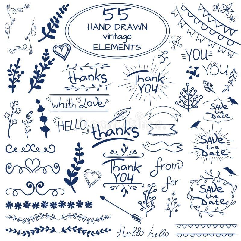 Το μεγάλο σύνολο 55 δίνει τα συρμένα στοιχεία σχεδίου διάνυσμα μπλε λευκό απεικόνιση αποθεμάτων