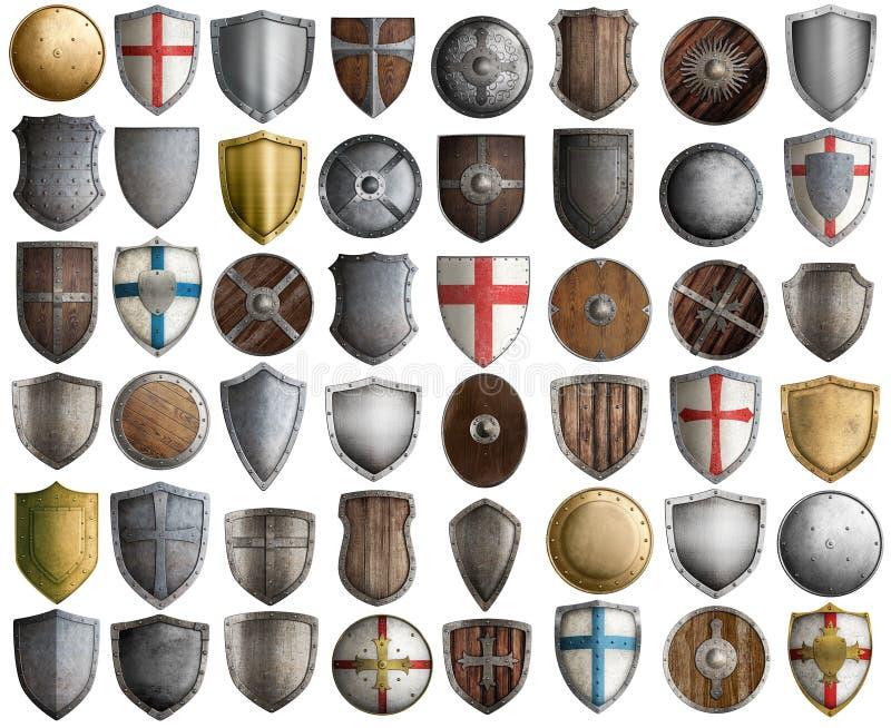 Το μεγάλο σύνολο μεσαιωνικών ασπίδων ιπποτών απομόνωσε την τρισδιάστατη απεικόνιση στοκ εικόνες