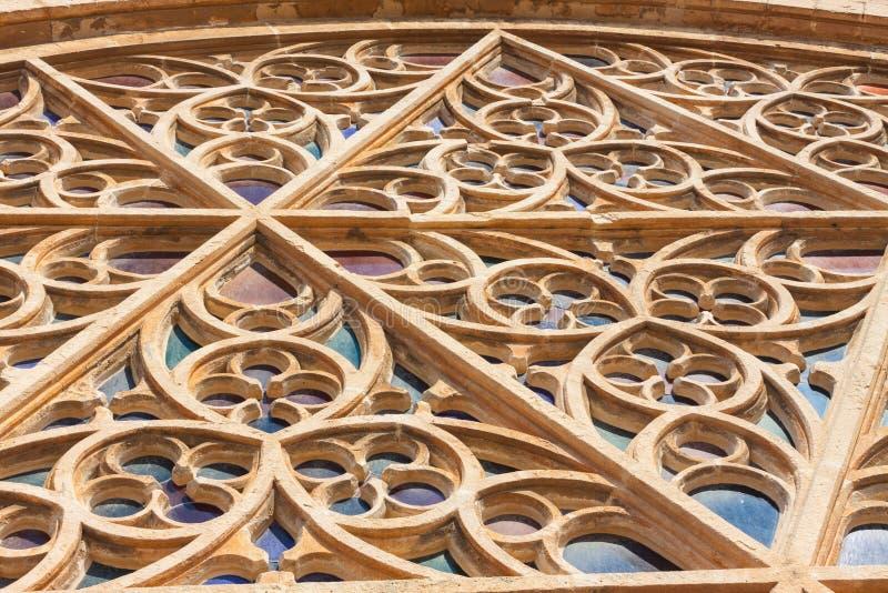 Το μεγαλύτερο ροδαλό παράθυρο του καθεδρικού ναού της Σάντα Μαρία Palma, επίσης γνωστής ως Λα Seu, από το εξωτερικό PALMA, ΜΑΓΙΌΡ στοκ φωτογραφίες με δικαίωμα ελεύθερης χρήσης
