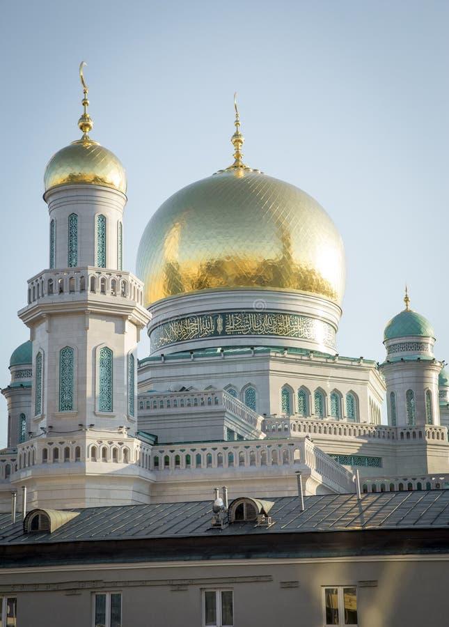 Το μεγαλύτερο και υψηλότερο μουσουλμανικό τέμενος στην Ευρώπη - τη Μόσχα, Ρωσία στοκ εικόνα