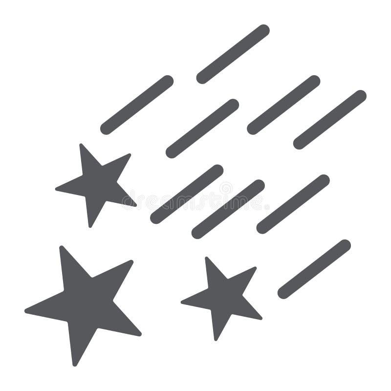 Το μειωμένες εικονίδιο αστεριών glyph, η νύχτα και η πρόβλεψη, αστέρια πυροβολισμού υπογράφουν, διανυσματική γραφική παράσταση, έ απεικόνιση αποθεμάτων